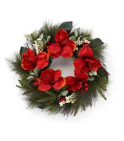 LivingQuarters Greenhouse Collection Small Amaryllis Wreath