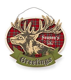 LivingQuarters Rustic Lodge Collection Christmas Deer Wall Sign