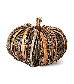 LivingQuarters Medium Twig And Bark Pumpkin
