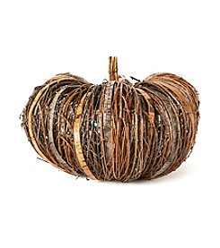 LivingQuarters Large Rustic Twig And Bark Pumpkin
