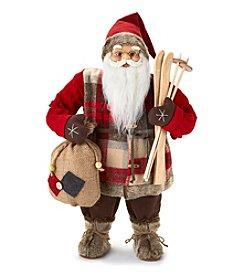 LivingQuarters Ski Santa Figurine
