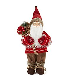 LivingQuarters Fair Isle Sweater Santa Figurine