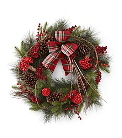 LivingQuarters Rustic Lodge Collection Pine & Berry Wreath