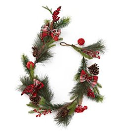 LivingQuarters Rustic Lodge Collection Pine & Berry Garland