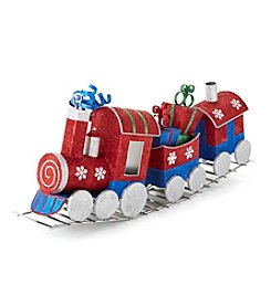 LivingQuarters Snowman Collection Decorative Glitter Train