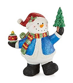 LivingQuarters Snowman Collection Glitter Snowman with Tree Figurine