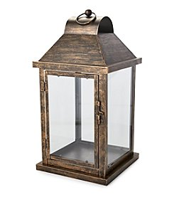 LivingQuarters Rustic Lodge Collection Medium Metal Lantern