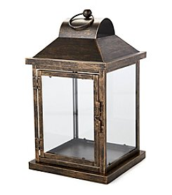 LivingQuarters Rustic Lodge Collection Small Metal Lantern