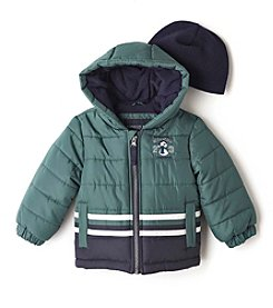 London Fog® Baby Boys Colorblock Puffer Jacket With Hat