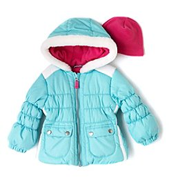 London Fog® Baby Girls' Colorblock Puffer Jacket With Hat