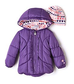 Weather Tamer® Baby Girls' Ruffle Puffer Jacket With Hat