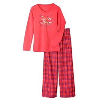 Calvin Klein Girls' 5-16 2-Piece Plaid Pajama Set