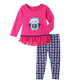 Nannette® Baby Girls' 2-Piece Owl Peplum Top And Leggings Set
