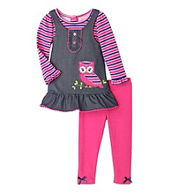Nannette® Baby Girls' 3-Piece Owl Jumper Set