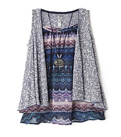 Beautees Girls' 7-16 Chevron Tank With Cozy Vest And Necklace