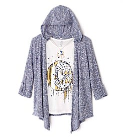 Beautees Girls' 7-16 Free Spirit Tee With Hooded Cozy And Necklace