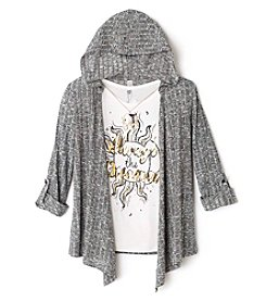 Beautees Girls' 7-16 Always Dream Tee With Hooded Cozy And Necklace