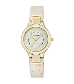 Anne Klein® Glitter and Gold White Bangle Watch