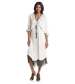 Skylar & Jade™ Embroidered Slit-Front Midi Fringe Maxi Dress