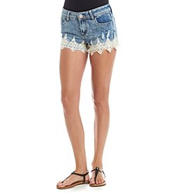 Crave Fame® Lace Crochet Hem Denim Shorts