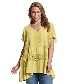 Eyeshadow® Plus Size Lace Detail Ruffle Top