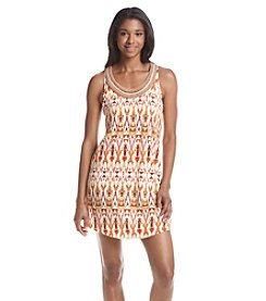 Be Bop Printed Knit Beaded Dress