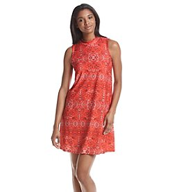Pink Rose® Printed Peached Mock Neck Swing Dress