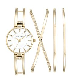 Anne Klein® Goldtone Crystal Bangle Watch Set