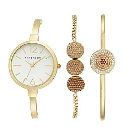 Anne Klein® Goldtone Topaz Crystal Bangle Watch Set