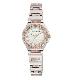 Anne Klein® Swarovski® Crystal Accented Two-Tone Bracelet Watch