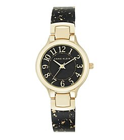 Anne Klein® Glitter and Goldtone Black Bangle Watch