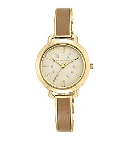 Anne Klein® Goldtone and Leather Accented Bangle Watch