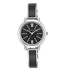 Anne Klein® Silvertone and Leather Accented Bangle Watch