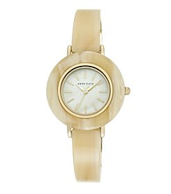 Anne Klein® Horn and Goldtone Bangle Watch