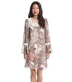 S.L. Fashions Bell Sleeve Paisley Shift Dress