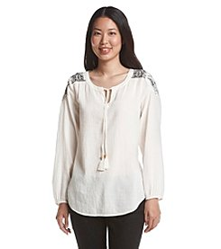 Ruff Hewn Embroidered Shoulder Peasant Top