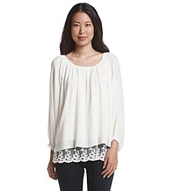 Chelsea & Theodore® Lace Hem Peasant Top