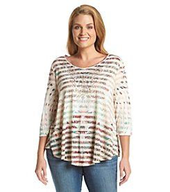 Oneworld® Plus Size Striped Swing Top