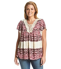 Oneworld® Plus Size Crochet Neck Woven Tee