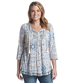 Lucky Brand® Plus Size Printed Peasant Top