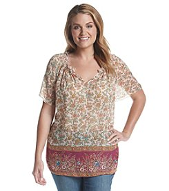 Lucky Brand® Plus Size Floral Border Print Top