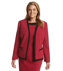 Kasper® Plus Size Zipper Detail Stretch Crepe Jacket