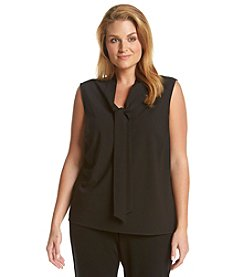 Kasper® Plus Size Solid Tie Neck Top