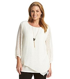 AGB® Plus Size Burnout Top With Necklace