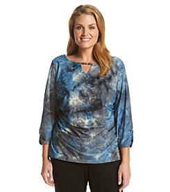 AGB® Plus Size Tie-Dye Top