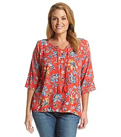Democracy Plus Size Floral Print Split Sleeve Top