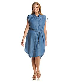 Democracy Plus Size Denim High-Low Shirt Dress