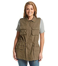 Democracy Plus Size Utility Vest With Drawstring Waist