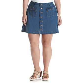 Democracy Plus Size Button Front Denim Skirt plus size,  plus size fashion plus size appare