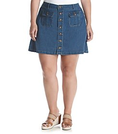 Democracy Plus Size Button Front Denim Skirt
